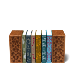Wooden Book Ends and Jane Austen Cloth Bound Classics